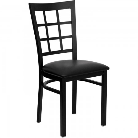 Flash Furniture XU-DG6Q3BWIN-BLKV-GG HERCULES Series Black Window Back Metal Restaurant Chair - Black Vinyl Seat