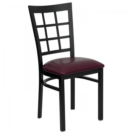 Flash Furniture XU-DG6Q3BWIN-BURV-GG HERCULES Series Black Window Back Metal Restaurant Chair - Burgundy Vinyl Seat