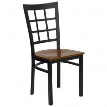 Flash Furniture XU-DG6Q3BWIN-CHYW-GG HERCULES Series Black Window Back Metal Restaurant Chair - Cherry Wood Seat