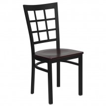 Flash Furniture XU-DG6Q3BWIN-MAHW-GG HERCULES Series Black Window Back Metal Restaurant Chair - Mahogany Wood Seat