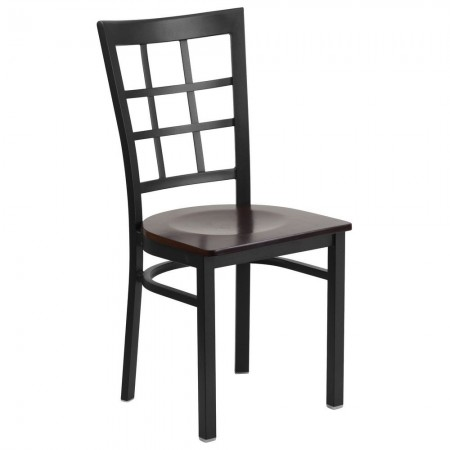 Flash Furniture XU-DG6Q3BWIN-WALW-GG HERCULES Black Window Back Metal Restaurant Chair - Walnut Wood Seat