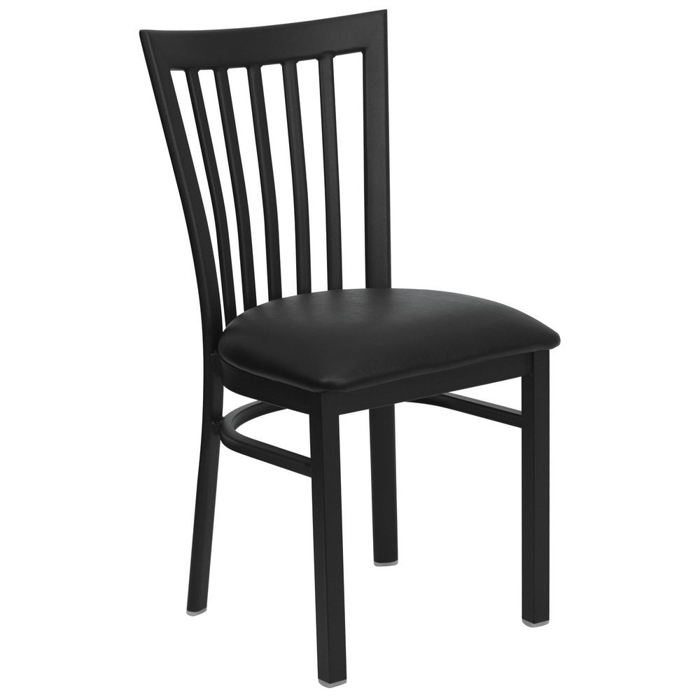 Flash Furniture XU-DG6Q4BSCH-BLKV-GG HERCULES Series Black School House Back Metal Restaurant Chair - Black Vinyl Seat