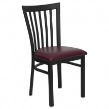 Flash Furniture XU-DG6Q4BSCH-BURV-GG HERCULES Series Black School House Back Metal Restaurant Chair - Burgundy Vinyl Seat