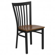 Flash Furniture XU-DG6Q4BSCH-CHYW-GG HERCULES Series Black School House Back Metal Restaurant Chair - Cherry Wood Seat