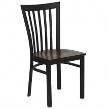 Flash Furniture XU-DG6Q4BSCH-MAHW-GG HERCULES Series Black School House Back Metal Restaurant Chair - Mahogany Wood Seat