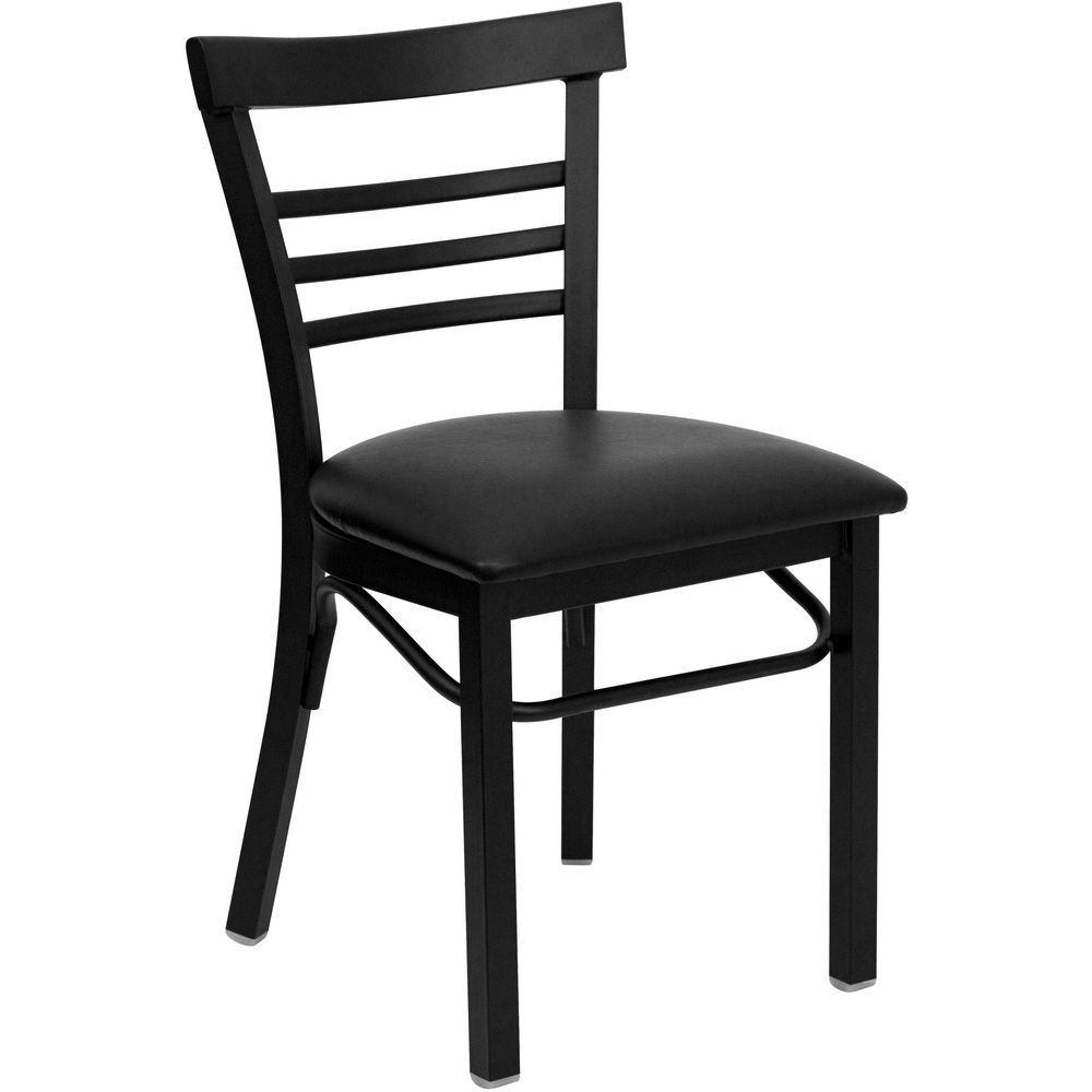 Flash Furniture XU-DG6Q6B1LAD-BLKV-GG HERCULES Series Black Ladder Back Metal Restaurant Chair - Black Vinyl Seat