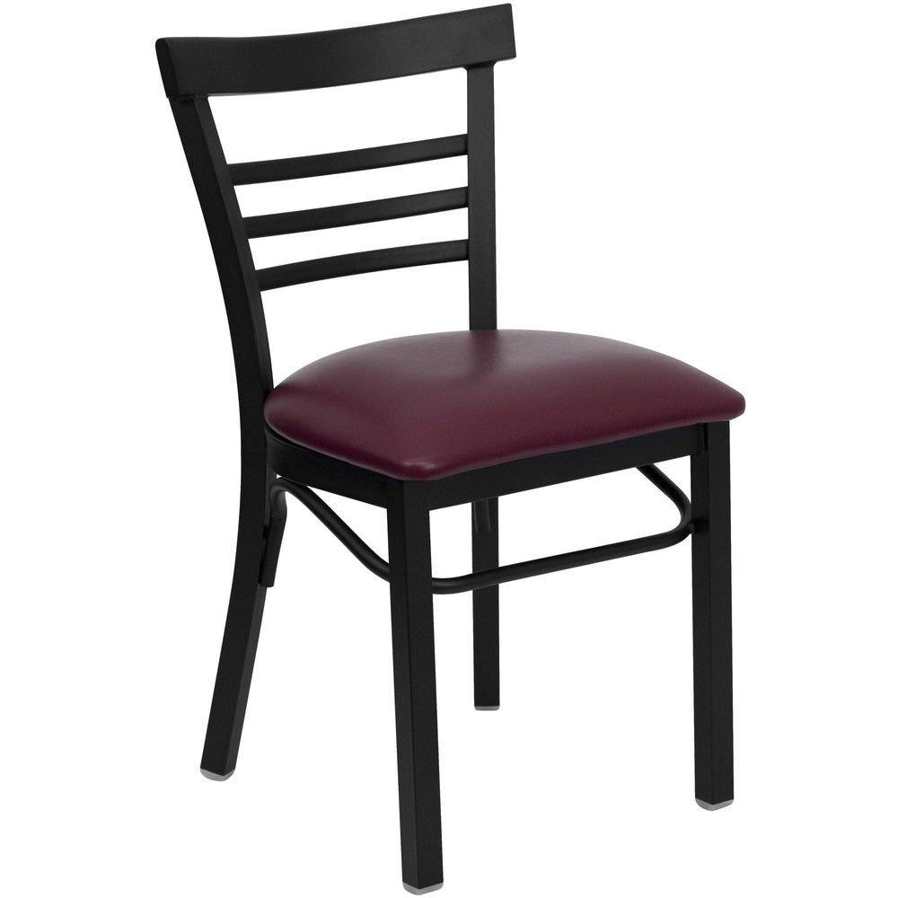 Flash Furniture XU-DG6Q6B1LAD-BURV-GG HERCULES Series Black Ladder Back Metal Restaurant Chair - Burgundy Vinyl Seat