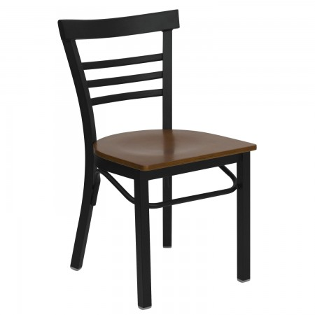 Flash Furniture XU-DG6Q6B1LAD-CHYW-GG HERCULES Series Black Ladder Back Metal Restaurant Chair - Cherry Wood Seat