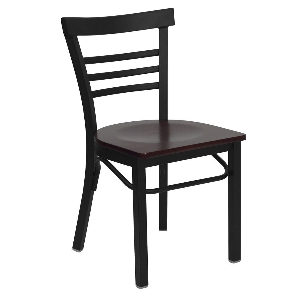 Flash Furniture XU-DG6Q6B1LAD-MAHW-GG HERCULES Series Black Ladder Back Metal Restaurant Chair - Mahogany Wood Seat