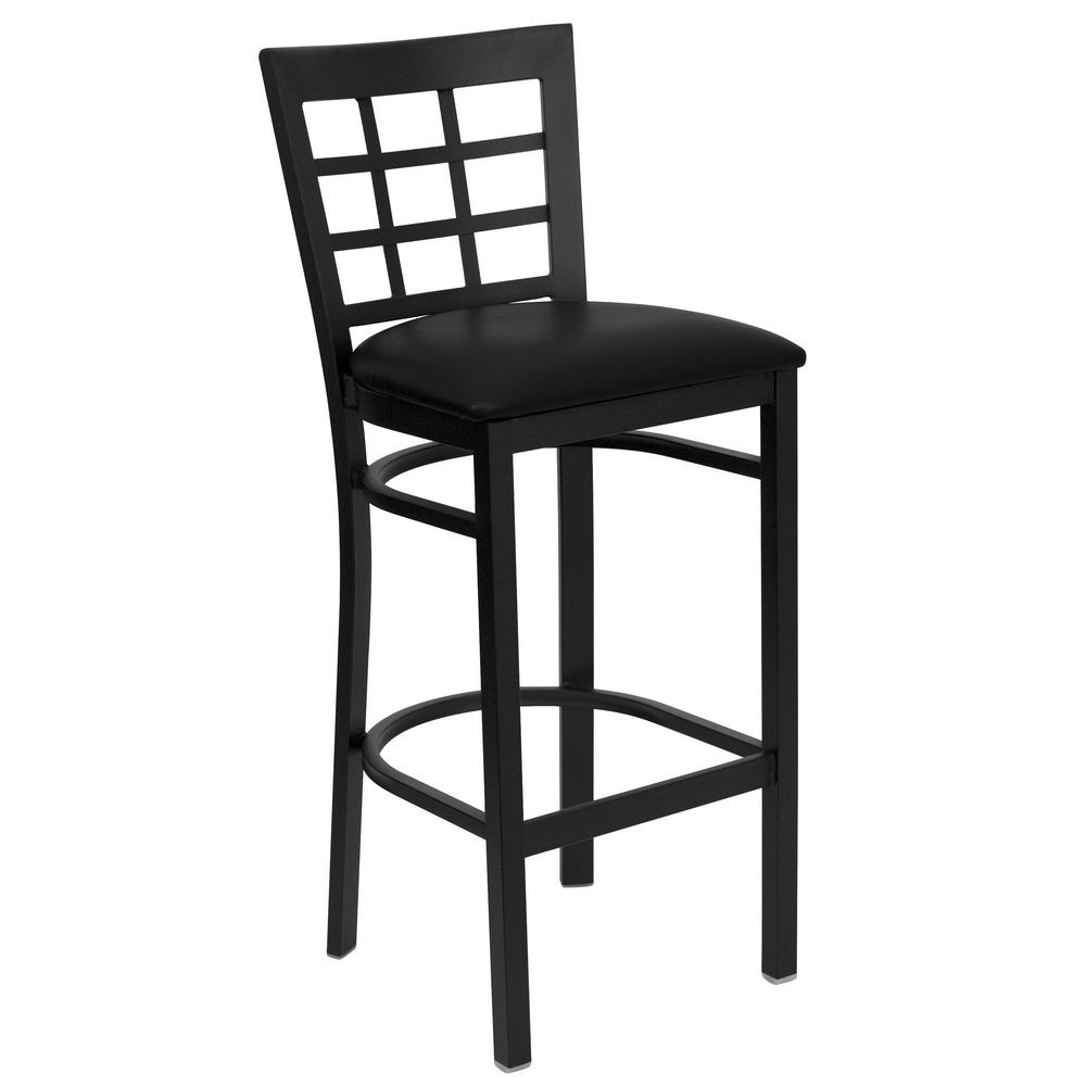 Flash Furniture XU-DG6R7BWIN-BAR-BLKV-GG HERCULES Series Black Window Back Metal Restaurant Bar Stool - Black Vinyl Seat