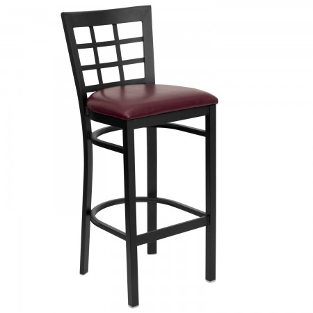 Flash Furniture XU-DG6R7BWIN-BAR-BURV-GG HERCULES Series Black Window Back Metal Restaurant Bar Stool - Burgundy Vinyl Seat