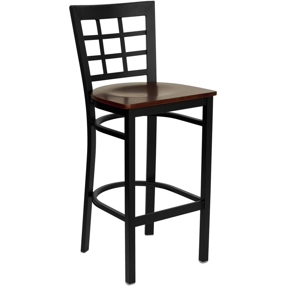 Flash Furniture XU-DG6R7BWIN-BAR-MAHW-GG HERCULES Series Black Window Back Metal Restaurant Bar Stool - Mahogany Wood Seat