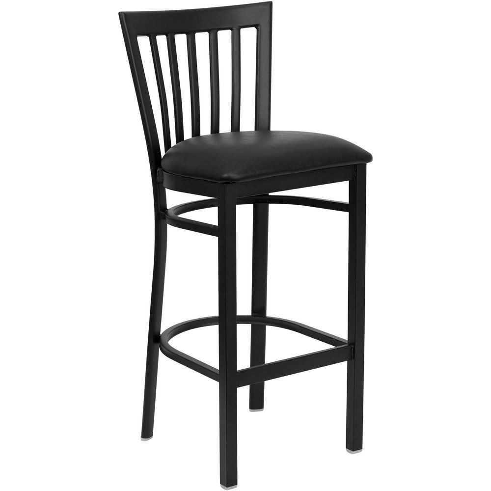 Flash Furniture XU-DG6R8BSCH-BAR-BLKV-GG HERCULES Series Black School House Back Metal Restaurant Bar Stool - Black Vinyl Seat