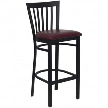 Flash Furniture XU-DG6R8BSCH-BAR-BURV-GG HERCULES Series Black School House Back Metal Restaurant Bar Stool - Burgundy Vinyl Seat