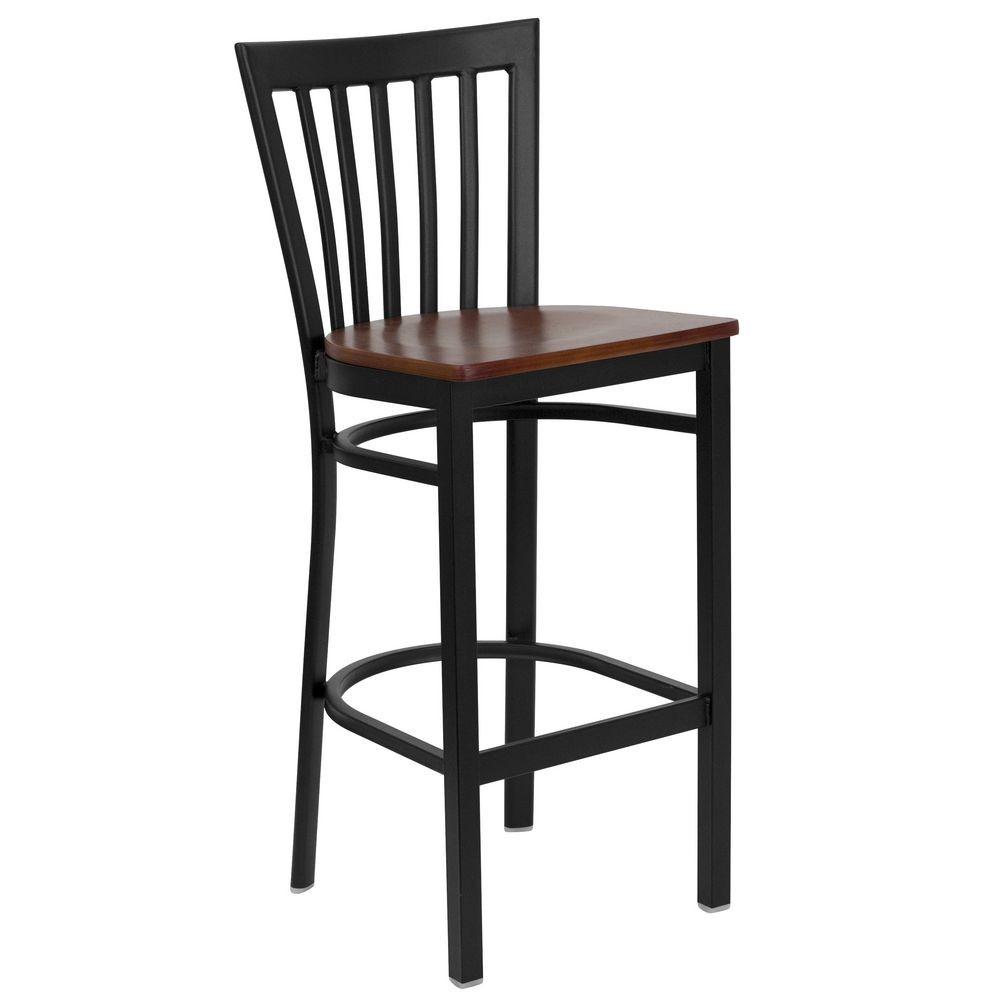 Flash Furniture XU-DG6R8BSCH-BAR-CHYW-GG HERCULES Series Black School House Back Metal Restaurant Bar Stool - Cherry Wood Seat