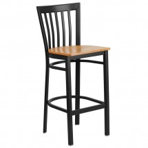 Flash Furniture XU-DG6R8BSCH-BAR-NATW-GG HERCULES Black School House Back Metal Restaurant Barstool - Natural Wood Seat