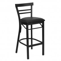 Flash Furniture XU-DG6R9BLAD-BAR-BLKV-GG HERCULES Series Black Ladder Back Metal Restaurant Bar Stool - Black Vinyl Seat