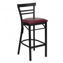 Flash Furniture XU-DG6R9BLAD-BAR-BURV-GG HERCULES Series Black Ladder Back Metal Restaurant Bar Stool - Burgundy Vinyl Seat
