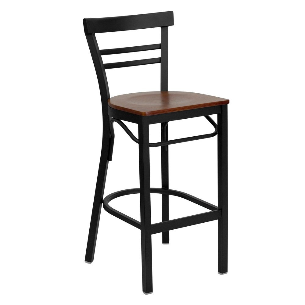 Flash Furniture XU-DG6R9BLAD-BAR-CHYW-GG HERCULES Series Black Ladder Back Metal Restaurant Bar Stool - Cherry Wood Seat