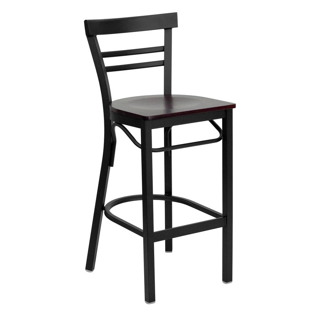 Flash Furniture XU-DG6R9BLAD-BAR-MAHW-GG HERCULES Series Black Ladder Back Metal Restaurant Bar Stool - Mahogany Wood Seat
