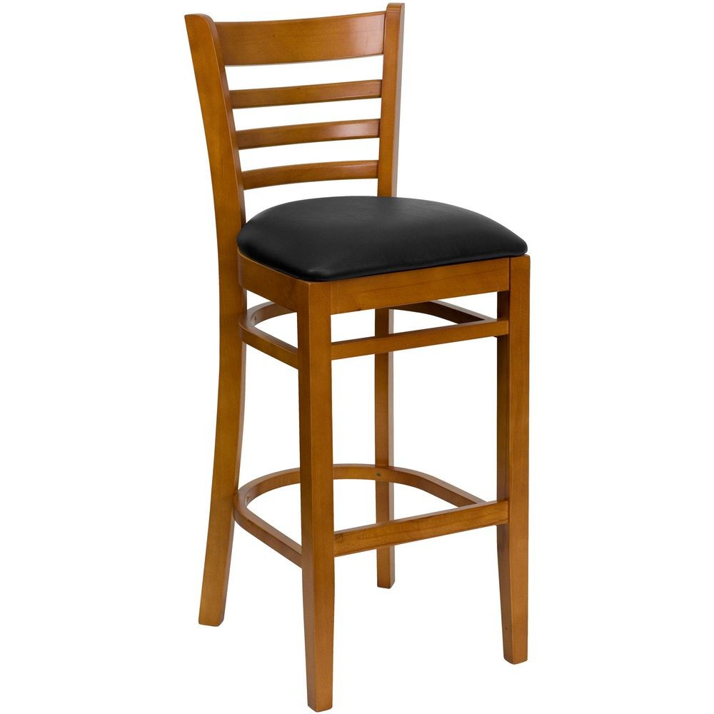 Flash Furniture XU-DGW0005BARLAD-CHY-BLKV-GG HERCULES Series Cherry Finished Ladder Back Wooden Restaurant Bar Stool - Black Vinyl Seat