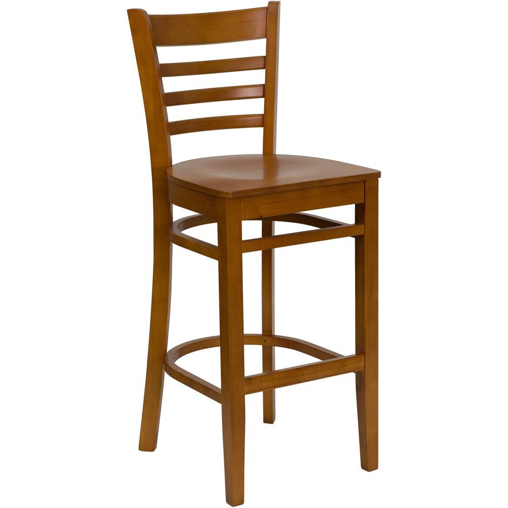 Flash Furniture XU-DGW0005BARLAD-CHY-GG HERCULES Series Cherry Finished Ladder Back Wooden Restaurant Bar Stool