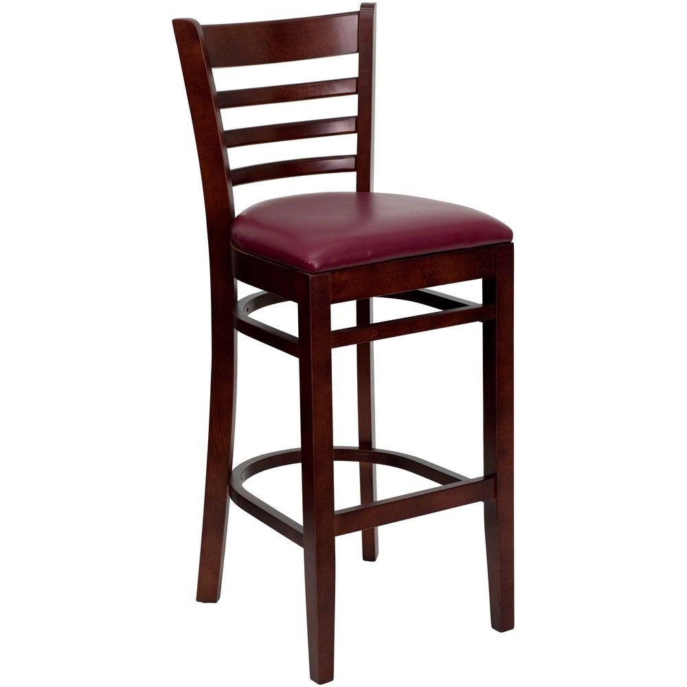 Flash Furniture XU-DGW0005BARLAD-MAH-BURV-GG HERCULES Series Mahogany Finished Ladder Back Wooden Restaurant Bar Stool - Burgundy Vinyl Seat