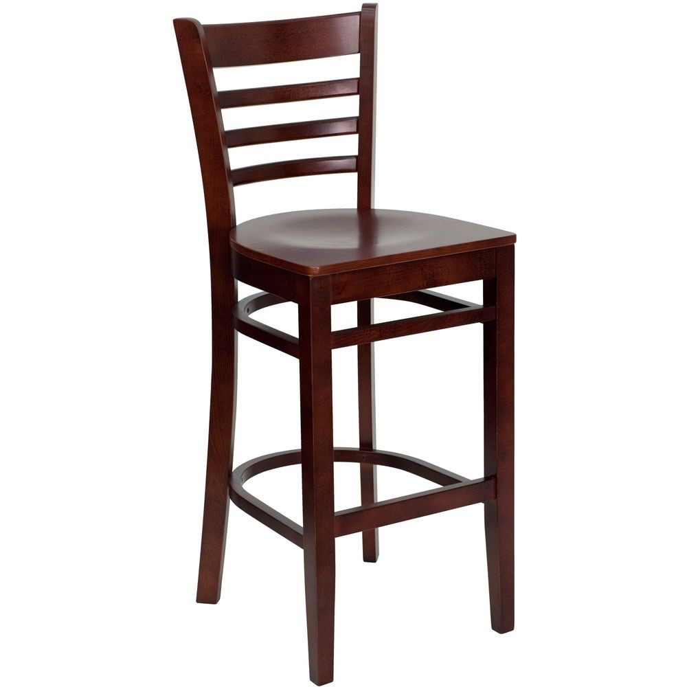 Flash Furniture XU-DGW0005BARLAD-MAH-GG HERCULES Series Mahogany Finished Ladder Back Wooden Restaurant Bar Stool