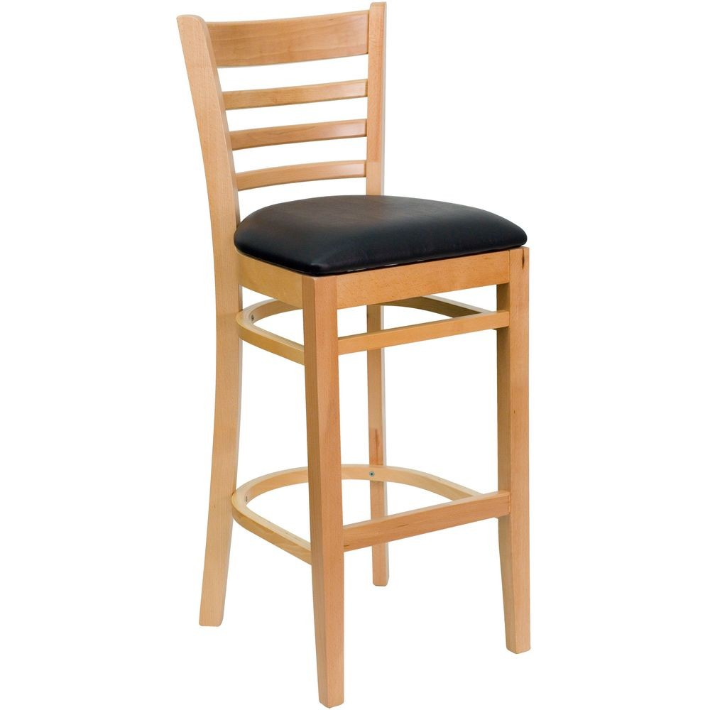 Flash Furniture XU-DGW0005BARLAD-NAT-BLKV-GG HERCULES Series Natural Wood Finished Ladder Back Wooden Restaurant Bar Stool - Black Vinyl Seat
