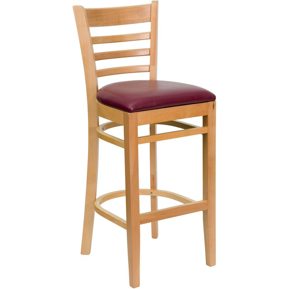 Flash Furniture XU-DGW0005BARLAD-NAT-BURV-GG HERCULES Series Natural Wood Finished Ladder Back Wooden Restaurant Bar Stool - Burgundy Vinyl Seat