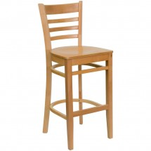 Flash Furniture XU-DGW0005BARLAD-NAT-GG HERCULES Series Natural Wood Finished Ladder Back Wooden Restaurant Bar Stool