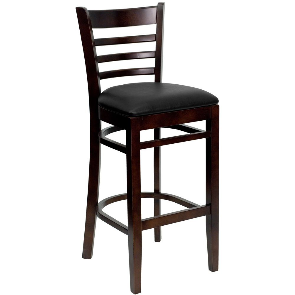 Flash Furniture XU-DGW0005BARLAD-WAL-BLKV-GG HERCULES Series Walnut Finished Ladder Back Wooden Restaurant Bar Stool - Black Vinyl Seat