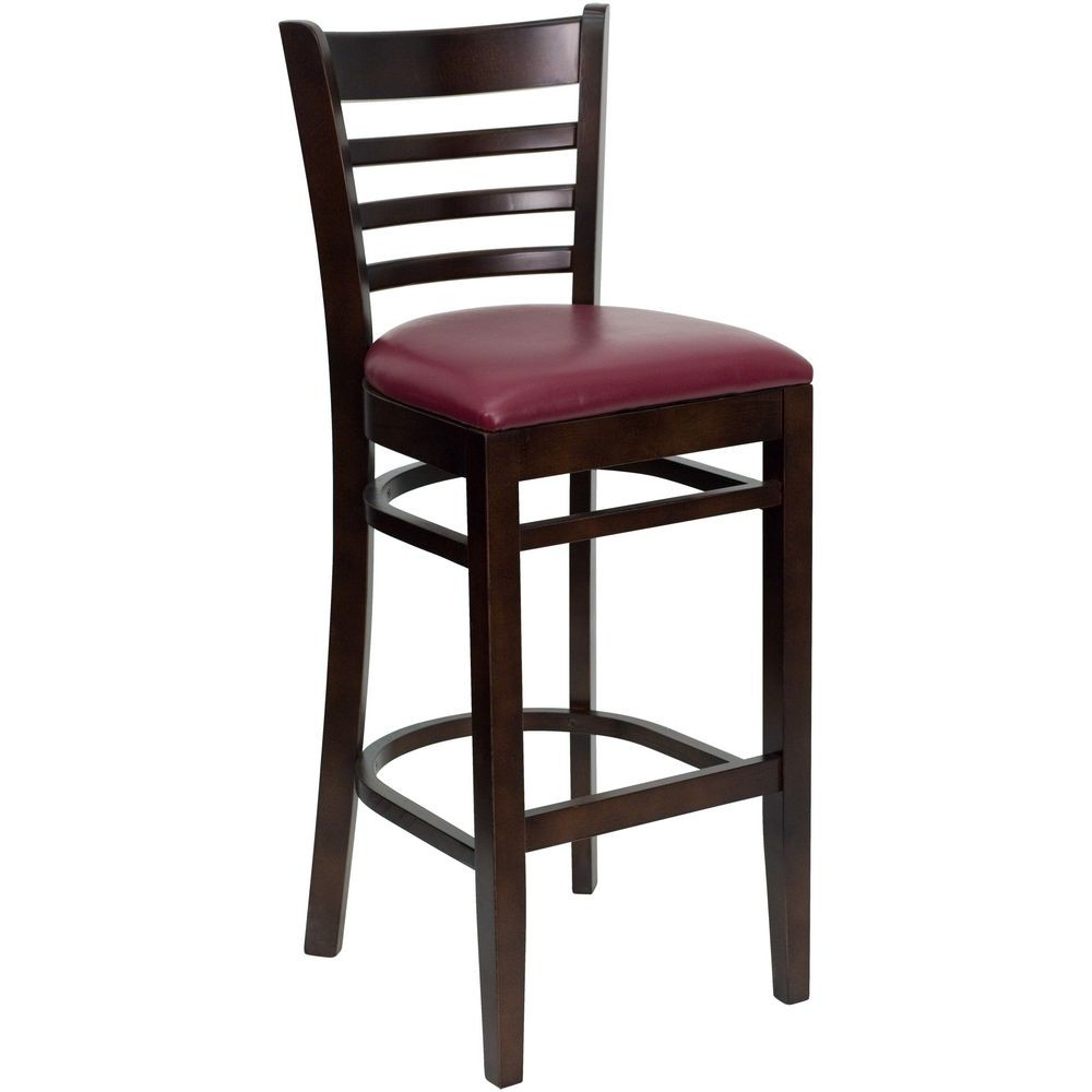 Flash Furniture XU-DGW0005BARLAD-WAL-BURV-GG HERCULES Series Walnut Finished Ladder Back Wooden Restaurant Bar Stool - Burgundy Vinyl Seat