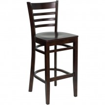 Flash Furniture XU-DGW0005BARLAD-WAL-GG HERCULES Series Walnut Finished Ladder Back Wooden Restaurant Bar Stool