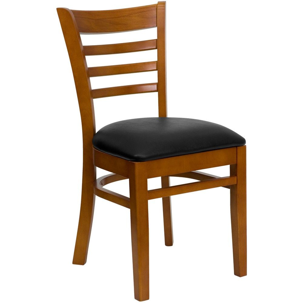 Flash Furniture XU-DGW0005LAD-CHY-BLKV-GG HERCULES Series Cherry Finished Ladder Back Wooden Restaurant Chair - Black Vinyl Seat