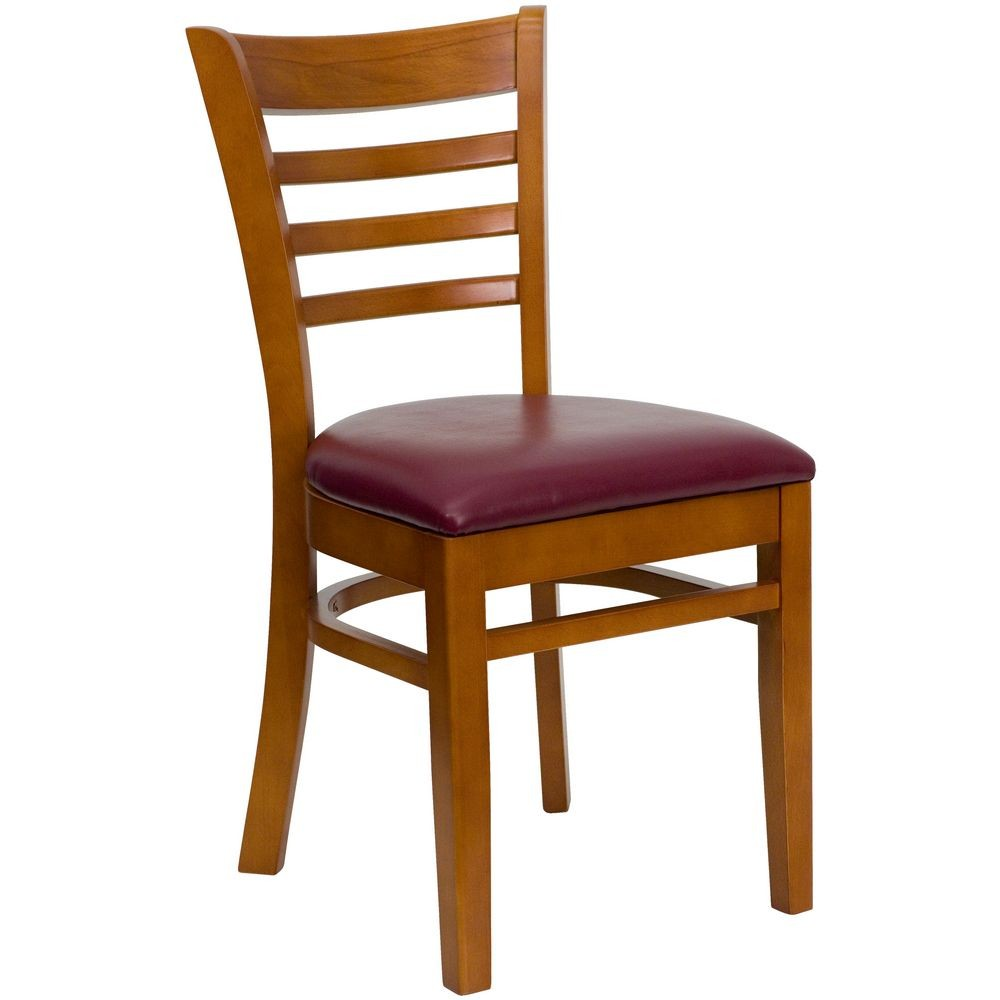 Flash Furniture XU-DGW0005LAD-CHY-BURV-GG HERCULES Series Cherry Finished Ladder Back Wooden Restaurant Chair - Burgundy Vinyl Seat