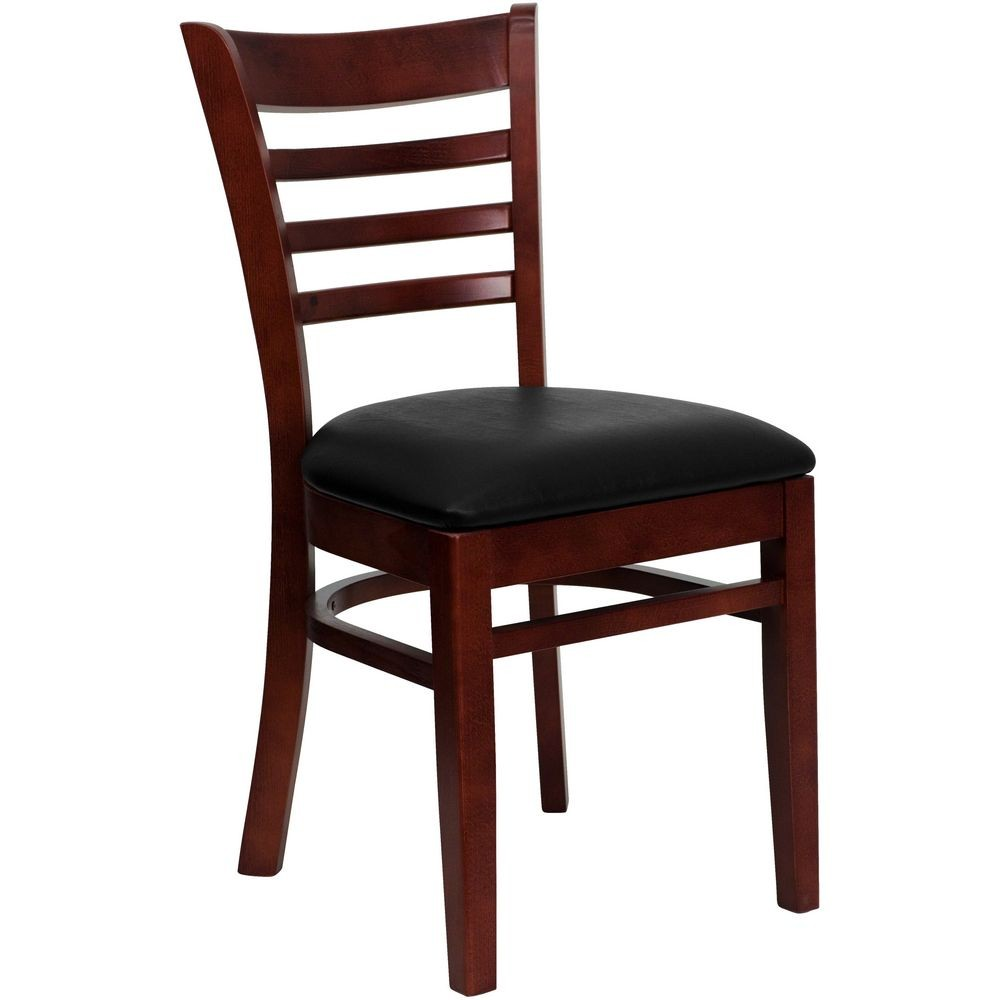 Flash Furniture XU-DGW0005LAD-MAH-BLKV-GG HERCULES Series Mahogany Finished Ladder Back Wooden Restaurant Chair - Black Vinyl Seat