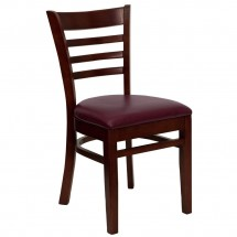 Flash Furniture XU-DGW0005LAD-MAH-BURV-GG HERCULES Series Mahogany Finished Ladder Back Wooden Restaurant Chair - Burgundy Vinyl Seat