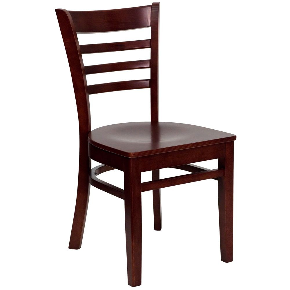 Flash Furniture XU-DGW0005LAD-MAH-GG HERCULES Series Mahogany Finished Ladder Back Wooden Restaurant Chair