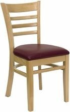 Flash Furniture XU-DGW0005LAD-NAT-BURV-GG HERCULES Series Natural Wood Finished Ladder Back Wooden Restaurant Chair - Burgundy Vinyl Seat