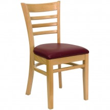 Burgundy Vinyl Seat Flash Furniture XU-DG694BLAD-BURV-GG HERCULES Series Black Ladder Back Metal Restaurant Chair