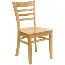 Flash Furniture XU-DGW0005LAD-NAT-GG HERCULES Series Natural Wood Finished Ladder Back Wooden Restaurant Chair