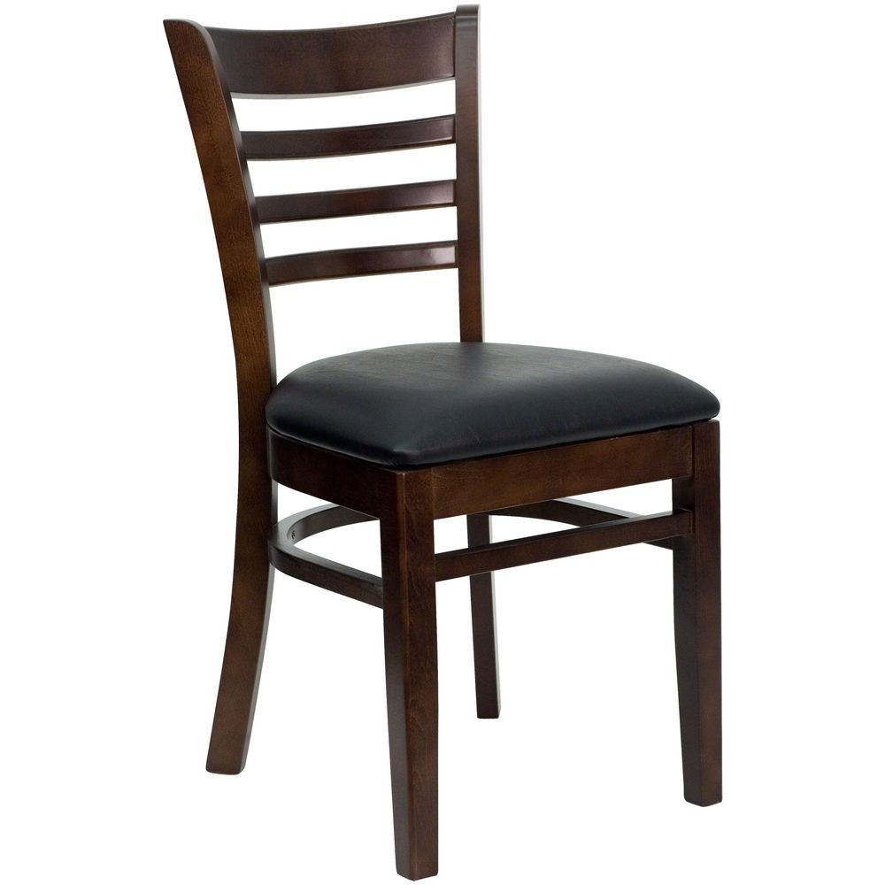 Flash Furniture XU-DGW0005LAD-WAL-BLKV-GG HERCULES Series Walnut Finished Ladder Back Wooden Restaurant Chair - Black Vinyl Seat