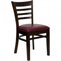 Flash Furniture XU-DGW0005LAD-WAL-BURV-GG HERCULES Series Walnut Finished Ladder Back Wooden Restaurant Chair - Burgundy Vinyl Seat