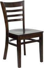 Flash Furniture XU-DGW0005LAD-WAL-GG HERCULES Series Walnut Finished Ladder Back Wooden Restaurant Chair