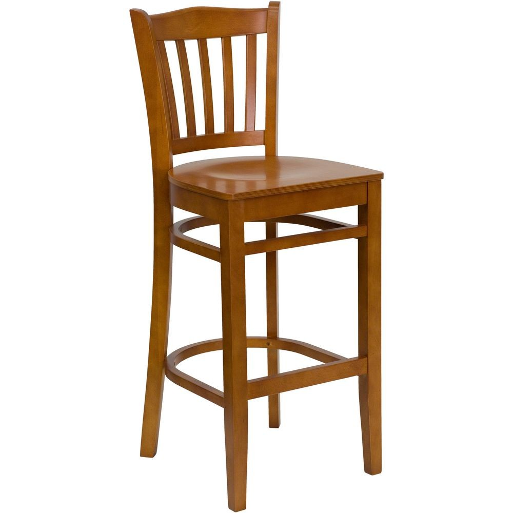 Flash Furniture XU-DGW0008BARVRT-CHY-GG HERCULES Series Cherry Finished Vertical Slat Back Wooden Restaurant Bar Stool
