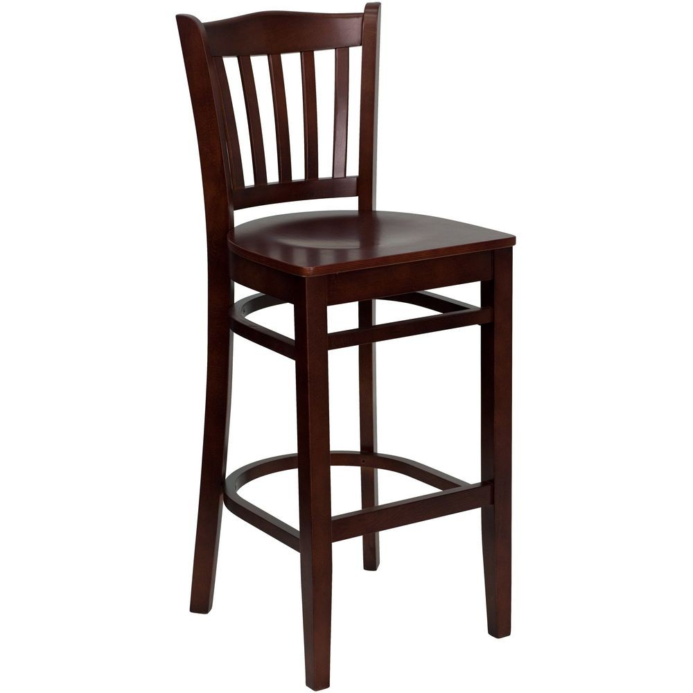 Flash Furniture XU-DGW0008BARVRT-MAH-GG HERCULES Series Mahogany Finished Vertical Slat Back Wooden Restaurant Bar Stool