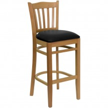 Flash Furniture XU-DGW0008BARVRT-NAT-BLKV-GG HERCULES Series Natural Wood Finished Vertical Slat Back Wooden Restaurant Bar Stool - Black Vinyl Seat