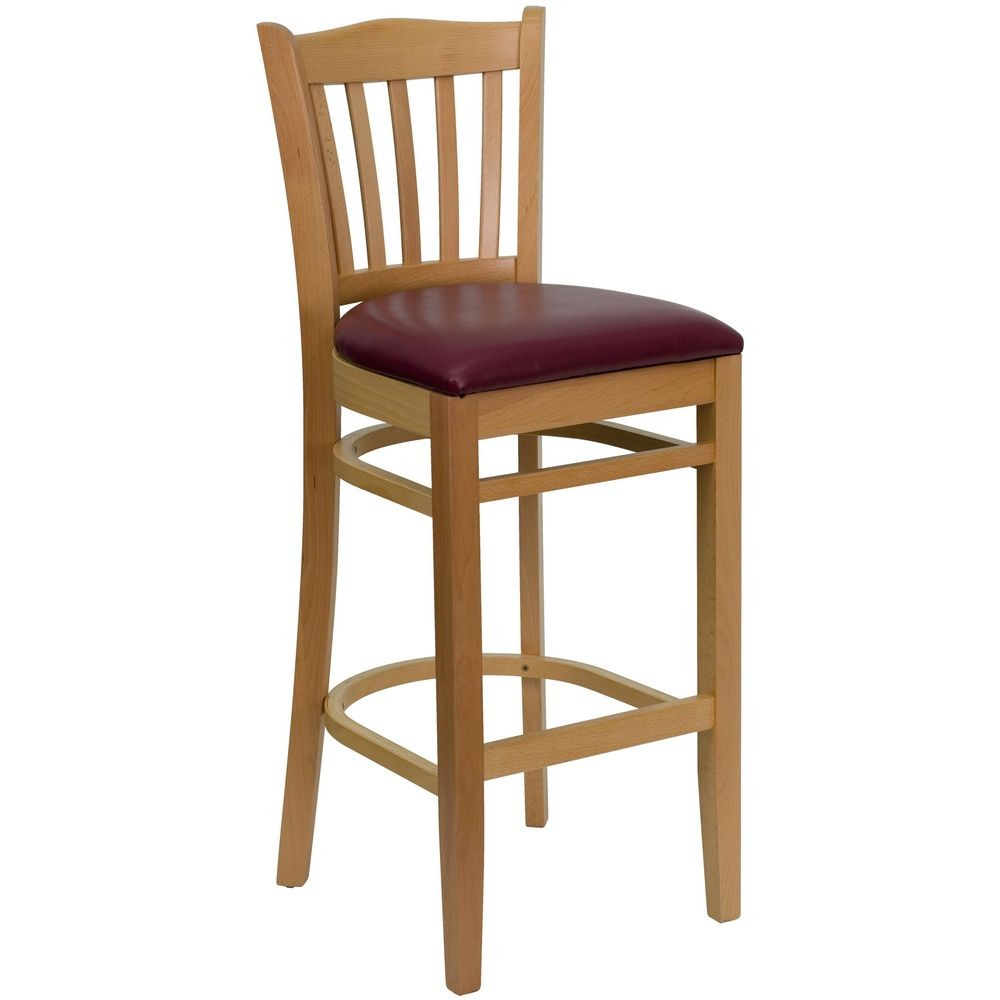 Flash Furniture XU-DGW0008BARVRT-NAT-BURV-GG HERCULES Series Natural Wood Finish Vertical Slat Back Wooden Restaurant Bar Stool - Burgundy Vinyl Seat