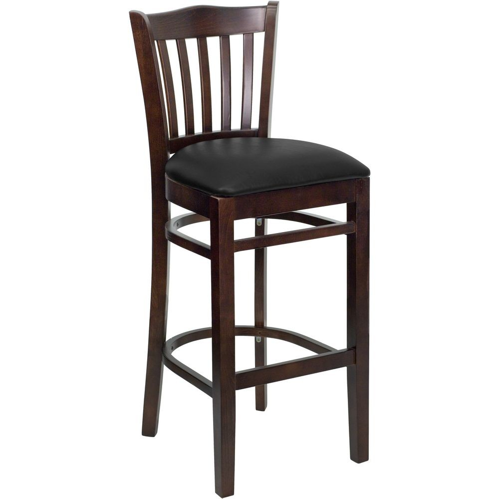 Flash Furniture XU-DGW0008BARVRT-WAL-BLKV-GG HERCULES Series Walnut Finished Vertical Slat Back Wooden Restaurant Bar Stool - Black Vinyl Seat